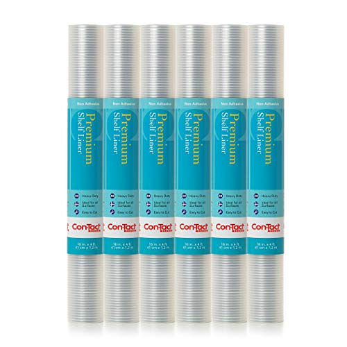 Con-Tact Brand Premium Plus Heavy Duty Non-Adhesive Shelf and Drawer Liner, 16 x 4, Ribbed Clear, 6 Roll