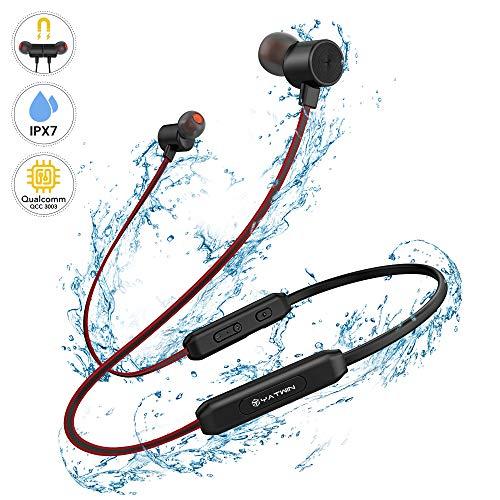 Bluetooth V5.0 In-Ear Kopfhörer - Kabellose Magnetische und Nackenbügel Sportkopfhörer, IPX7 Wasserdicht/HD-Stereo Minikopfhörer/8 Std Musik mit Einer Akkuladung für iPhone Huawei Samsung iPad