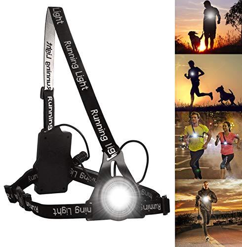 Luz para Correr Running, BraceTek luz led Frontal correr con Recargables USB Impermeable, Muy cómoda y Ligera,Tiene una luz Rojo en la Espalda con Seguridad.Perfecto para los Corredores nocturnas