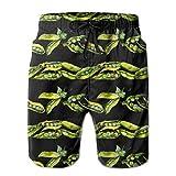 KLING Troncos de natación para Hombres Guisantes SED Pea Patrón de Verduras Silvestres Pantalones Cortos de Playa de Secado rápido,L