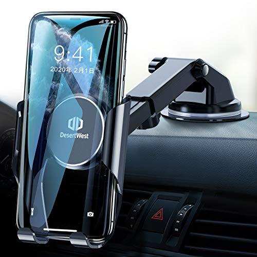 DesertWest Handyhalterung Auto mit Memory-Funktion Universale Handyhalter fürs Auto Saugnapf Universale Kfz Smartphone Halterung Handy Halter für Auto für iPhone/Samsung/Huawei/Xiaomi/LG usw.