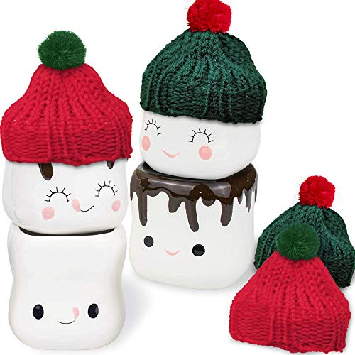 Marshmallow Shaped Mugs Set of 4 & 4 Christmas Hats - Cute Hot Chocolate Mug - Ceramic Kids Cocoa Mug - Marshmallow Cup - Funny Coffee Mug Gift