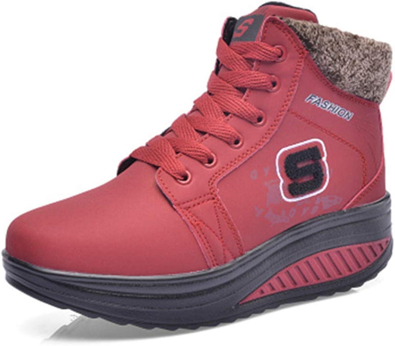 Wallhewb Fashion Winter Women Casual Warm Ankle Snow Boots Waterproof Flat Slip-Resistant Ladies shoes Joker Soft Velvet Elegant Wear Resistant Beautiful Fashionable Red 6 M US shoes