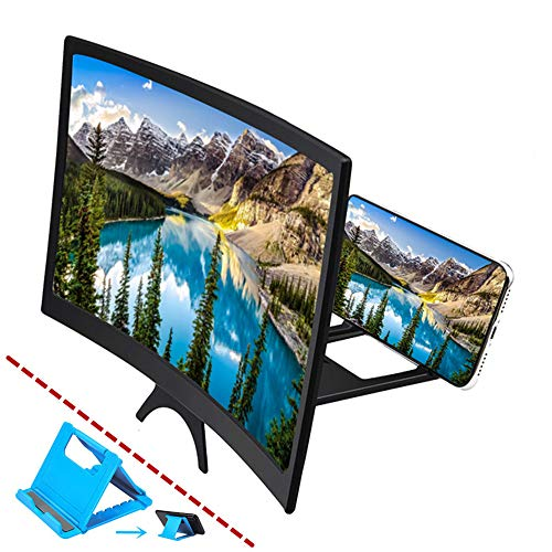 Curved 12 Phone Screen Magnifier & Phone Holder Stand,3D HD Anti-Blue Light Lens,Foldable Phone Screen Enlarger,Universal Cell Phone Screen Amplifier for Video,TV, Games, Compatible All Smartphones