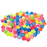 Juvale 100 Count Bouncy Balls Party Favors for Kids – 0.73 Inch Mini Rubber Bouncing Toys for Birthday Goodie Bags Fillers, Assorted Neon Marble Designs