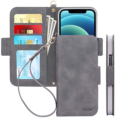 """Skycase Compatible for iPhone 12 Case/Compatible for iPhone 12 Pro Case 5G,[RFID Blocking]Handmade Flip Folio Wallet Case with Card Slots and Detachable Hand Strap for iPhone 12/12 Pro 6.1"""" 2020,Grey"""