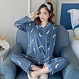 Conjunto De Pijamas Para Mujer,Conjunto De Pijama De Manga Larga De Terciopelo Dorado Para Mujer Con Cuello En V Gris Patrón De Plumas Ropa De Dormir Cálida De Gran Tamaño Conjunto De Blusas Y Pa