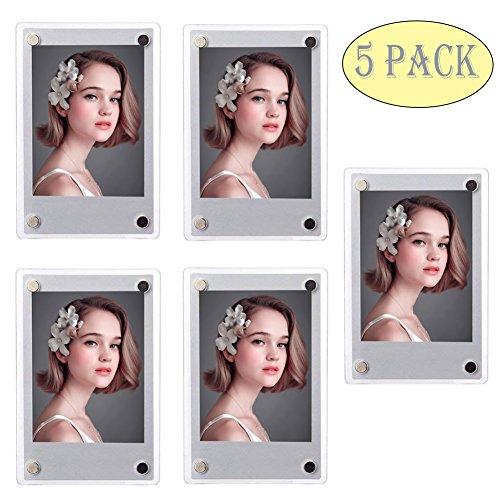 SAIKA Acrylic Fridge Magnetic Double Sided Photo Frame for Fujifilm Instax Mini 11 9 8 8s 25 26 50s 70 7s 90 Film/Polaroid Instant Film, Clear, Pack of 5