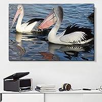 """現代の壁アートキャンバス絵画動物ペリカン北欧のポスターとプリント壁の写真リビングルームの家の装飾23.6"""" x 31.4""""(60x90cm)フレームレス"""
