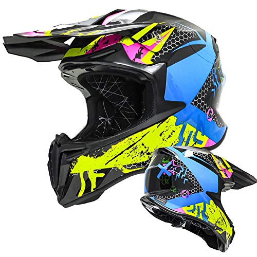 Casco de Motocross de Cara Completa para Adolescentes para Adultos, Cascos de Moto Todoterreno, Gorras de Seguridad para Motocicleta, Bicicleta de montaña al Aire Libre