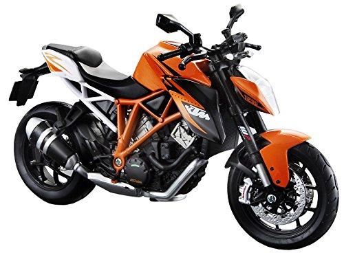 Maisto KTM 1290 Super Duke R: Originalgetreues Motoradmodell, Maßstab 1:12, mit Federung und Seitenständer, orange (513065)