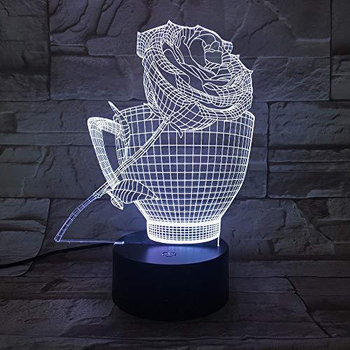 Roses Cup Romantic Acrylic Party Holiday Night Light 3D LED Lámpara de mesa niños regalo de cumpleaños decoración de la habitación junto a la cama