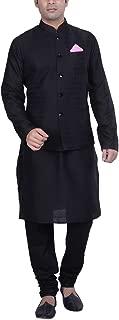 Men's Tussar Silk Green Nehru Jacket with Kurta and Churidar Set