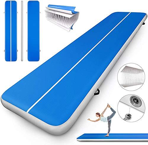 N/K Air Track Tumbling Mat Serie Aufblasbare Gymnastik Tumbling Matte Air Tumbling Track Air Bodenmatte für Zuhause und Training Fitness ohne Pumpe (blau, 500x200cm)