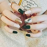 Edary False Nails Green Medium Oval Fake Nails Glitter Cubierta completa Uñas desmontables Puntas de uñas para mujeres y niñas (24 piezas)