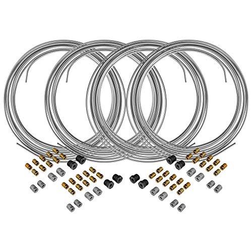 4LIFETIMELINES Galvanized Steel Brake Line Tubing Coils and Fittings, 4 Kits, 3/16 x 25