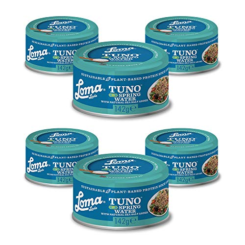 Loma Linda Tuno - Plant-Based - Spring Water (142g) (Pack of 6) - Non-GMO, Ocean Safe, Omega 3, Seafood Alternative