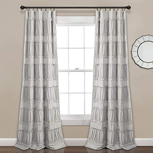 "Lush Decor, Gray Nova Ruffle Window Curtain Panel Pair, 84"" x 42"", 84"" L"