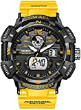 Mens Analog Digital Sports Watch Large Face Outdoor Sports Waterproof Military Wrist Watches with Date Multifunction Tactics LED Army Stopwatch (Orange)