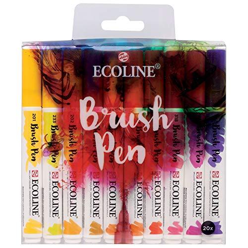 Royal Talens Ecoline - Juego de rotuladores de pincel (20 unidades), varios colores
