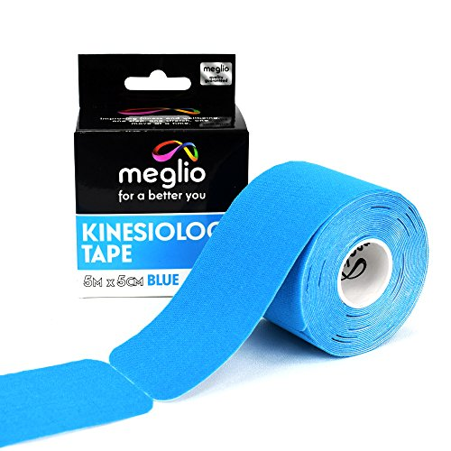 Meglio Selbstklebendes Kinesiologie Tape, Vorgeschnitten 5m Rolle, latexfrei, Hypoallergenes Sport-Tape, Atmungsaktiv, Wasserfeste, Muskelunterstützung für Sport und Abhilfe bei Verletzungen (Blau)