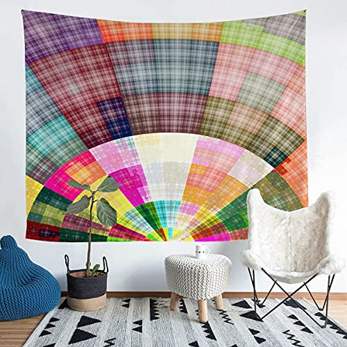 Tapiz para colgar en la pared, tapiz geométrico para niños y niñas, colorido cuadrícula a cuadros, decoración de pared de estilo bohemio de lujo para dormitorio, sala de estar, 152 x 228 cm