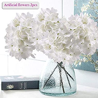 Artificial Hydrangea Flowers, Meiwo 2 Pcs Fake Hydrangea Silk Flowers to Shine Your Wedding Scene Arrangement and Home Party Decor(White)