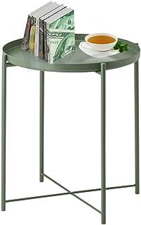 Table d'appoint ronde en métal pour extérieur, pliable, antirouille et étanche, plateau amovible pour salon, chambre à cou...