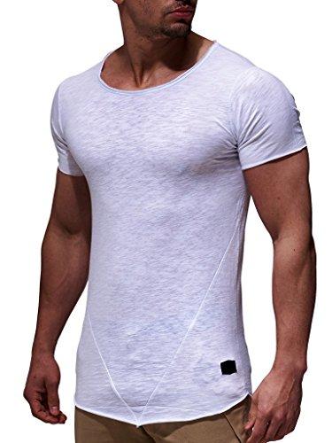 Leif Nelson Herren Oversize T-Shirt Rundhals Basic Shirt LN6281; Größe L, Weiss