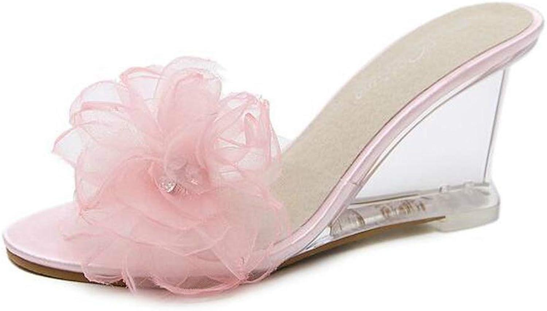 Btrada Summer Open Toe High Heels Women Transparent Slippers Soft Flower Decoration Ladies Wedges Sandals