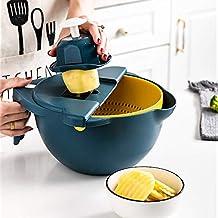 Multi-Functional Vegetable Slicer, Kitchen Mandoline Slicer With Drain Basket| Adjustable blade Grater| Onion, Potato and ...