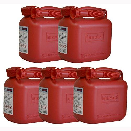 5er Set: 5x Benzinkanister 5 Liter in Rot mit UN-Zulassung Made in Germany