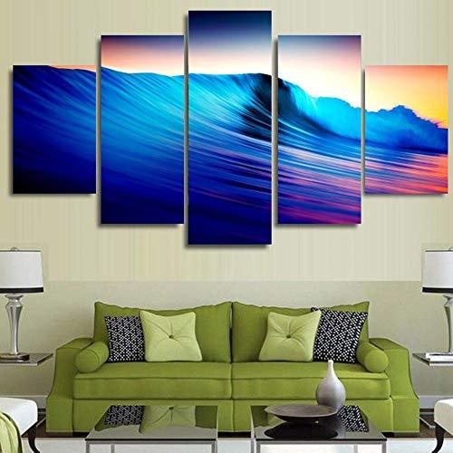 FGVBWE4R Wohnkultur Wohnzimmer Modulare Bilder 5 Panel Sea Wave View Rahmen Wandkunst Malerei HD Gedruckt Leinwand Landschaft Poster-XXL
