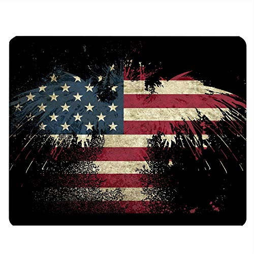 Nicokee Eagle Rectangle Gaming Mousepad Bald Eagle American Flag U.S Flag Stars Stripe Flag Mouse Pad Mouse Mat for Computer Desk Laptop Office 9.5 X 7.9 Inch Non-Slip Rubber