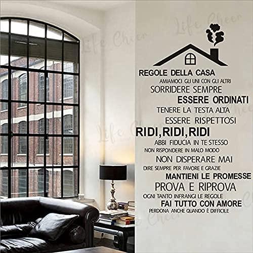 DOUMAISHOP House Rules - Adhesivo de vinilo para pared, diseño de casa en el techo, decoración del hogar, Ac262