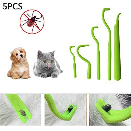 Motto.H 5 PCS Instrumentos Antigarrapatas,Herramientas Removedoras De Garrapatas, Eliminación De Pulgas De Garrapatas Herramienta Twister para Perros, Gatos Y Humanos