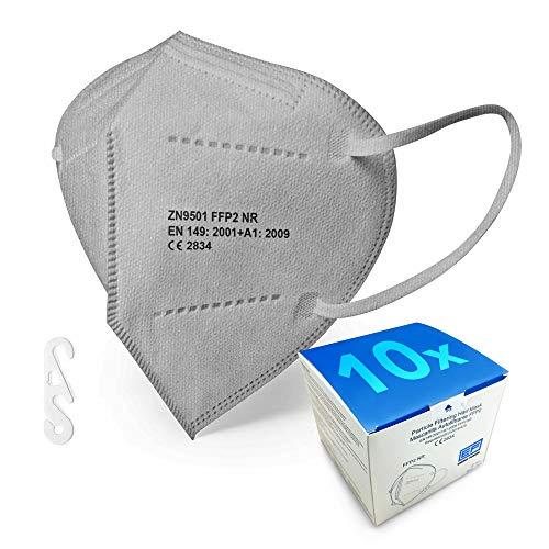 ENERGY FUSION Graue FFP2 Maske - Schachtel à 10 Stück - EU CE Zertifiziert, mit verstellbarem Gummiband und anpassbarem Nasenbügel| 5 Filtrationsschichten, Schützt drinnen und draußen…
