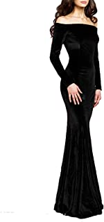 TTYbridal Off The Velvet Evening Gown Long Prom Party Dress With Two Sleeves V4