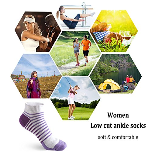 Low Cut Ankle Sneaker Socks for Women - 5 Pairs Breathable Stripe Short Trainer Socks for Casual Running Walking Fitness Outdoor Sports