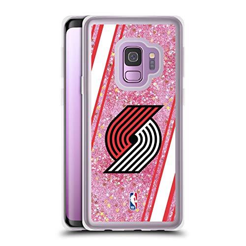 Officiële NBA Strepen Portland Trail Blazers 2 Licht Roze Helder Hybrid Vloeibare Glitter Compatibel voor Samsung Galaxy S9