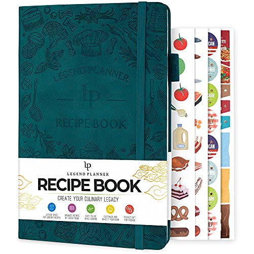 Legend Recipe Book – Blank Family Cookbook to Write In Your Own Recipes – Empty Cooking Journal – Personalized Cooking Notebook, Hardcover, A5, 58 Recipes In Total (Dark Teal)