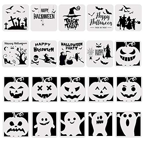 URATOT 20 Pieces Halloween Plastic Painting Stencils Drawing Templates Theme Painting Template with Pumpkin Bat Skeleton Owl Hat for Halloween DIY Card