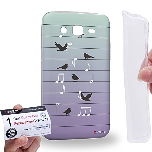 Hülle88 [Samsung Galaxy Grand 2] Gel TPU Hülle / Schutzhülle und Garantiekarte - Art Fashion Birds Of Music On Wire Art1393