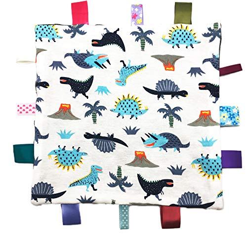 Manta cómoda para bebés con etiquetas de colores Manta de seguridad para bebés Taggy Patrón de dinosaurio multicolor Puntos de masaje 3D Parte inferior gris
