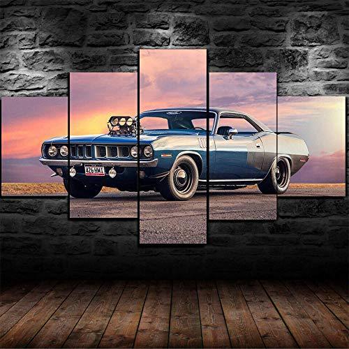 AWER 5 piezas de lienzo de arte de pared Carro Imágenes Póster Impresión En Hd Estilo Abstracto Cuadro decoración Estilo Piasaje Regalo marco de madera 5 Piezas