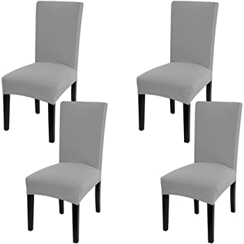 Amazon Com Fuloon 6 Pack Super Fit Stretch Removable Washable Short Dining Chair Protector Cover Seat Slipcover For Hotel Dining Room Ceremony Banquet Wedding Party Light Gray Kitchen Dining