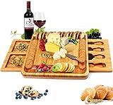 Bossjoy Tabla de queso de bambú con herramientas de queso, placa de queso Charcuterie, bandeja para servir para vinos y carne, servidor de madera grande, regalo caliente para gourmets