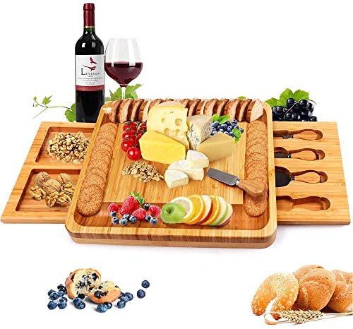 Bossjoy Bambus Käsebrett mit Käsewerkzeugen, Käseplatte Charcuterie-Brett-Platten-Set Serviertablett für Weincracker Brie und Fleisch, großer Dicker Holzserver, Hauswärmgeschenk für Feinschmecker