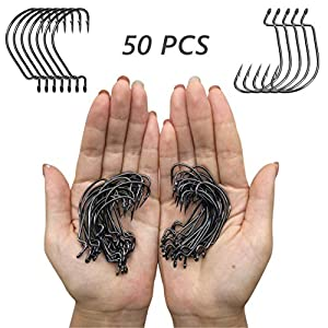 Damidel 50PCS Strong High Carbon Steel Fishing Hooks,Barded Design,Worms Senko Soft Bait Fishhook Set ?Available in 8 Sizes, lndividually Packaged(4# 50 pcs)