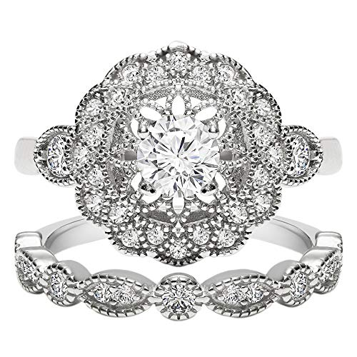 TwoBirch 18k White Gold Microplated Art Deco Floral Design Duo Bridal Ring Set Engagement Ring and Wedding Band with Cubic Zirconia (Set (2 Rings), Size 7)